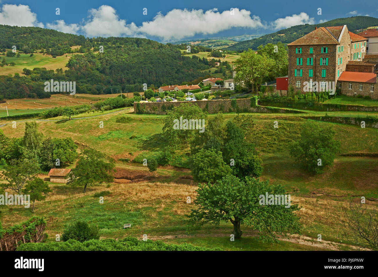 Saint Felicien in the Ardeche department, Rhone Alps region, France Stock Photo