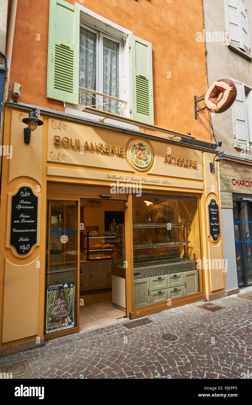 Tournon sur Rhone in the Ardeche department of the Rhone Alps and the front of a boulangerie or bakery shop Stock Photo