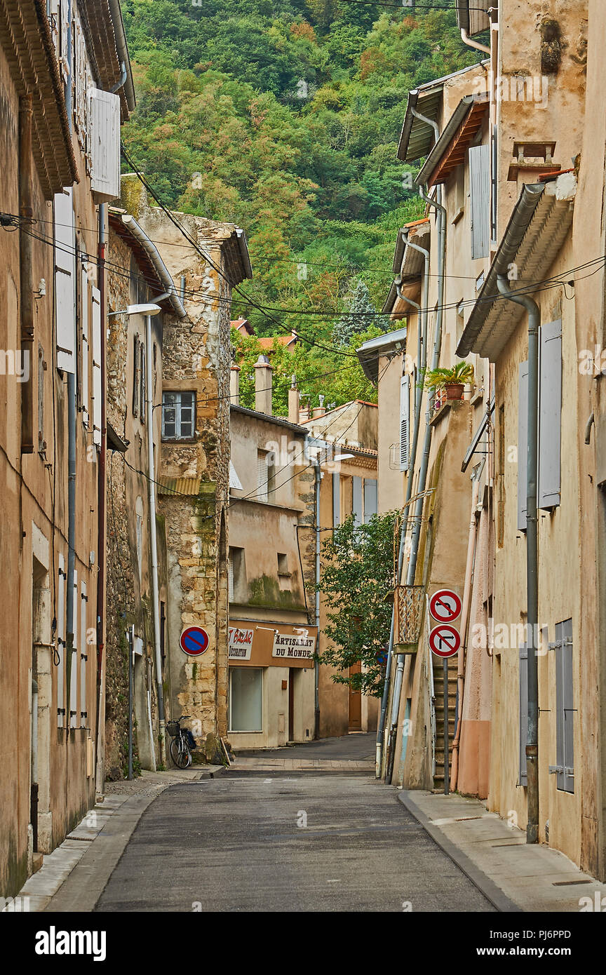 A street scene in a French village in the Rhone Valley Stock Photo