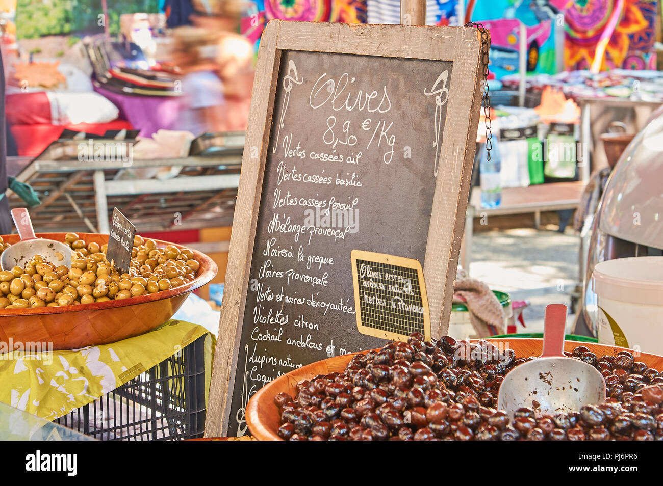 Market stall selling olives in the Ardeche town of Lamstre Stock Photo