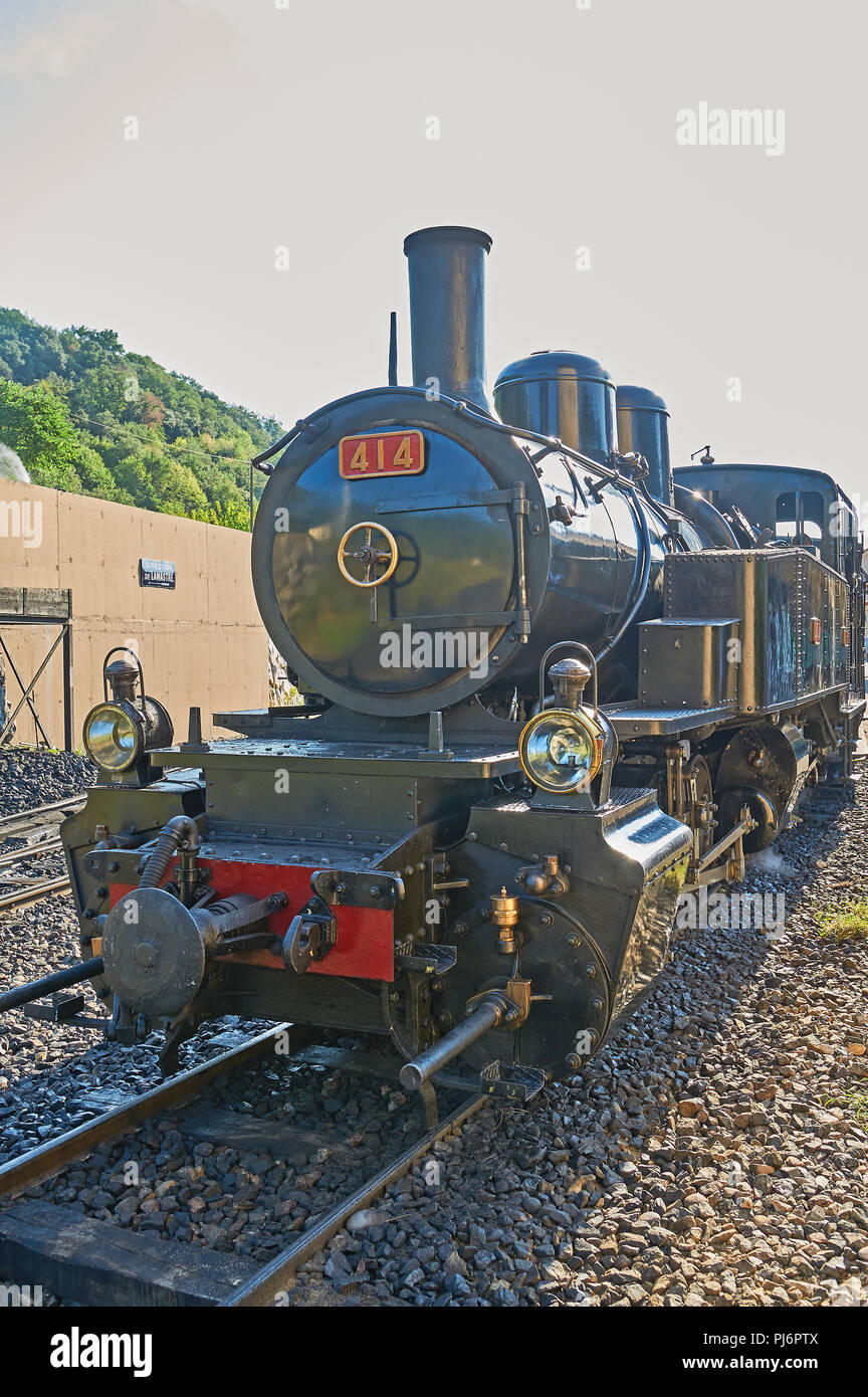 Steam locomotive at Tournon station awaiting to depart on the Train De L'Ardeche along the River Doux gorge to Lamastre Stock Photo