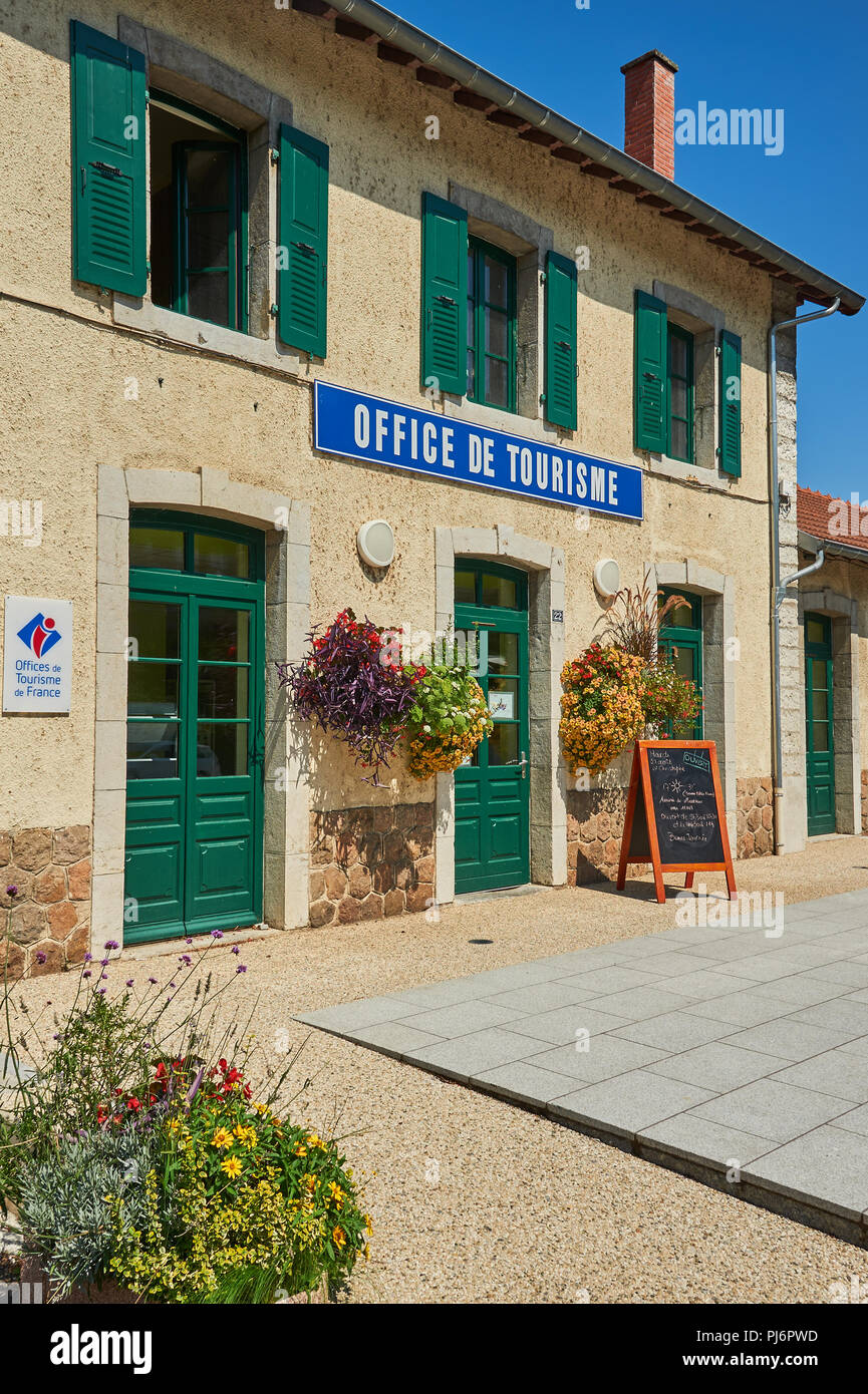 Lamastre, Ardeche,Rhone Alps,France and the tourist office located at the railway station. Stock Photo