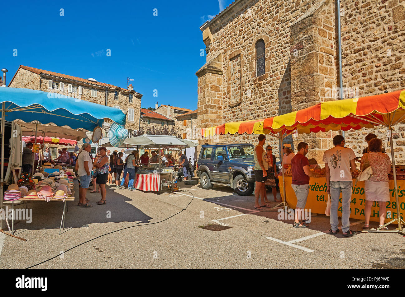 Saint Felicien, Ardeche, Rhone Alps, France and a street market in the centre of the town. Stock Photo