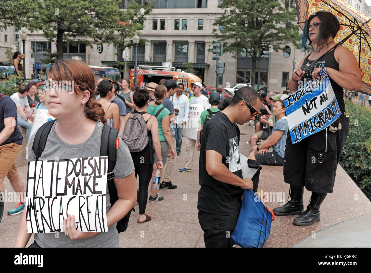 Hate Does Not Make America Great sign at rally in Freedom Park in Washington D.C. aimed at countering the alt-right rally in Lafayette Park - Stock Image