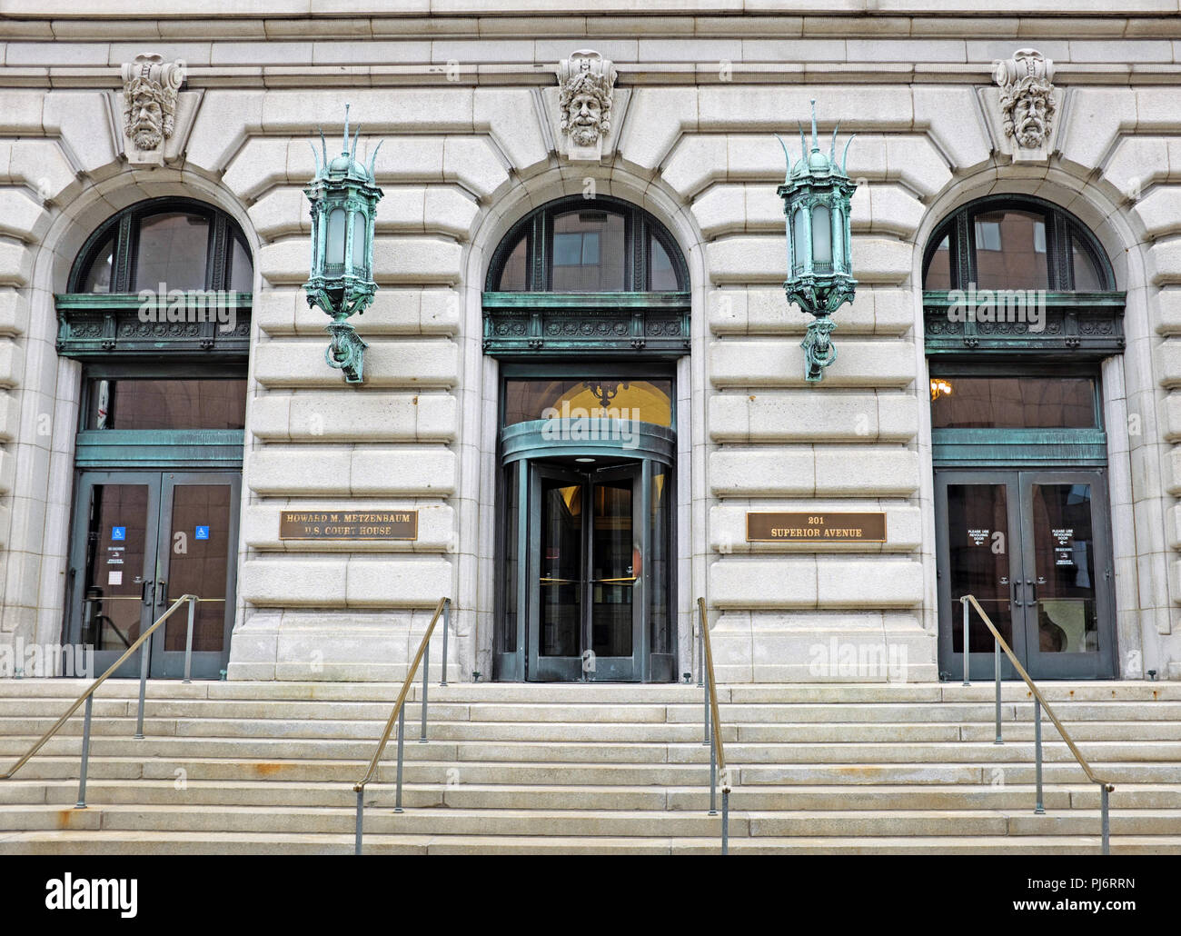 The Superior Avenue entrance of the Metzenbaum U.S. Courthouse in downtown Cleveland, Ohio was opened in 1910 as the Old Federal Building. - Stock Image