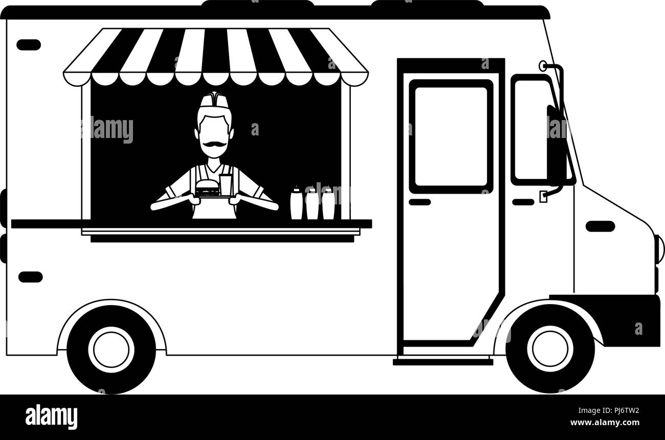 Foodtruck restaurant isolated in black and white Stock Vector