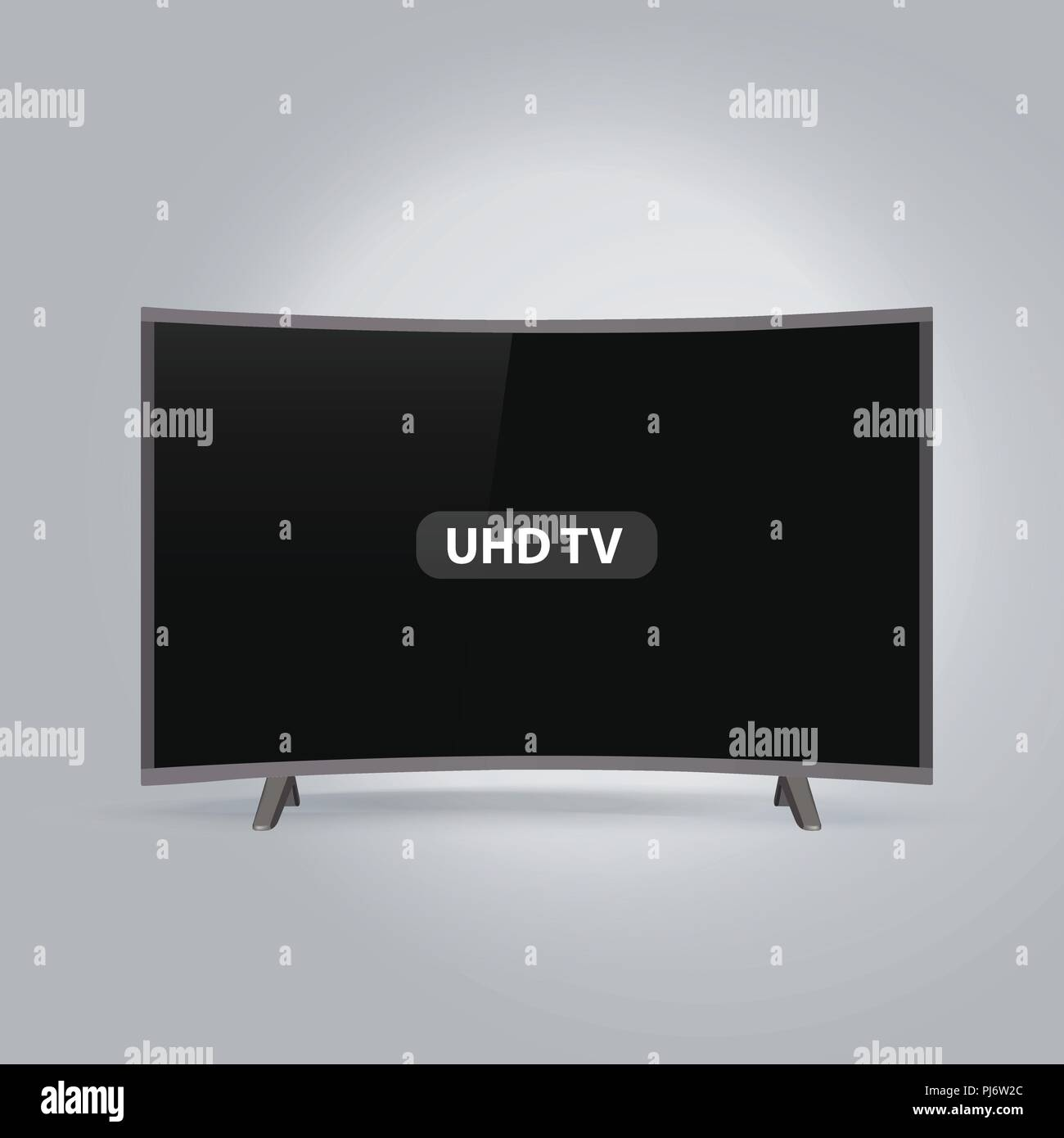 Curved smart LED UHD TV series isolated on gray background - Stock Image