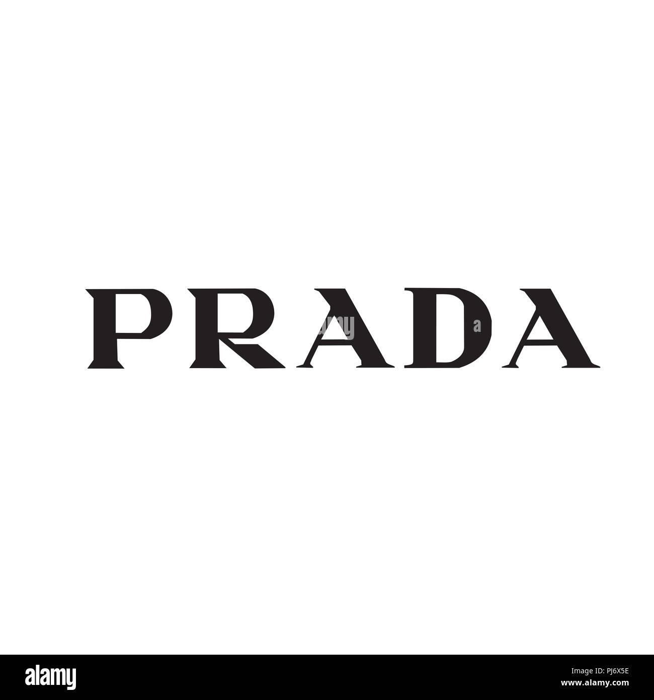 PRADA logo fashion luxury brand italy clothes illustration - Stock Image