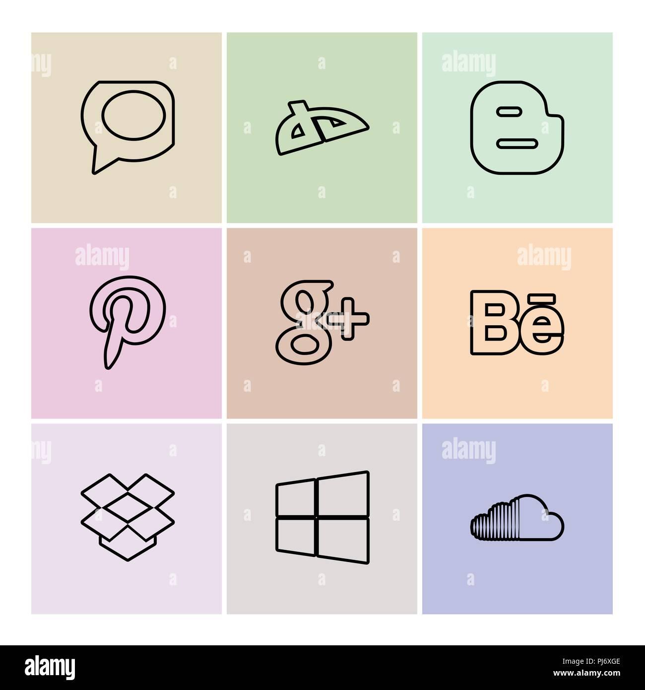 whatsapp , blogger , pintrest , google plus , behance