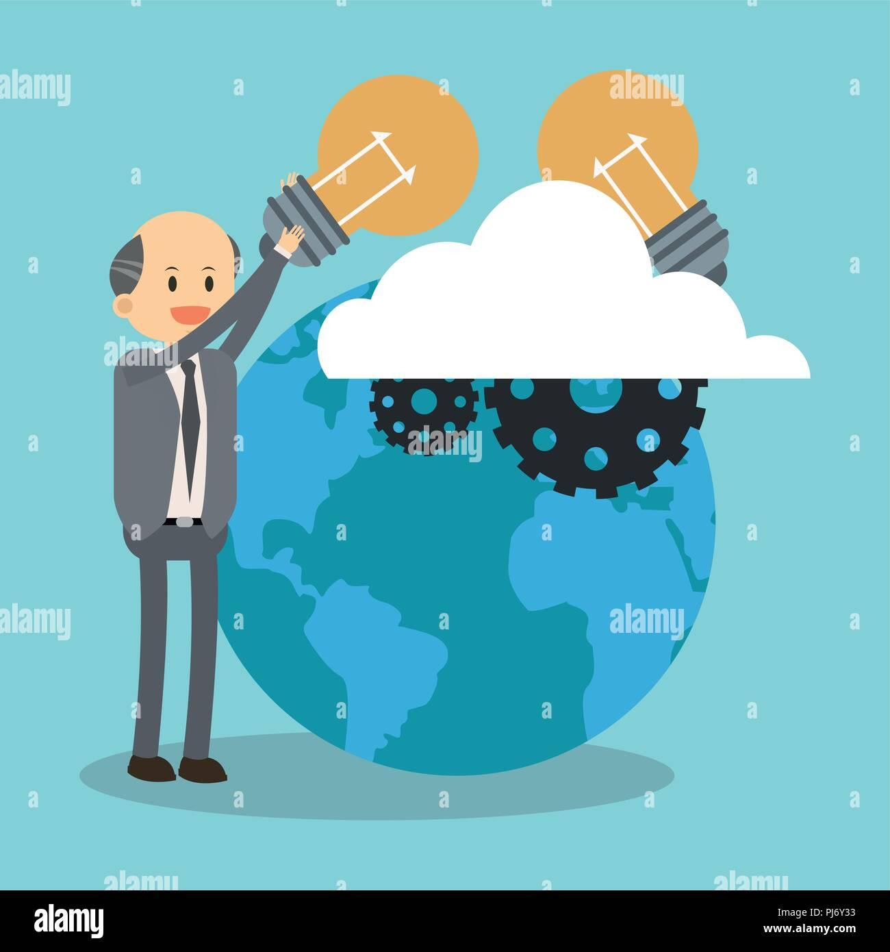 Businessman and big idea - Stock Image