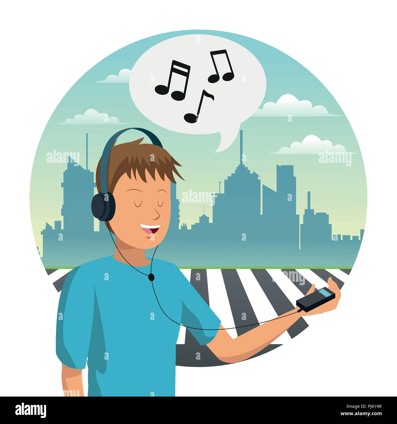 Young man listen music - Stock Image