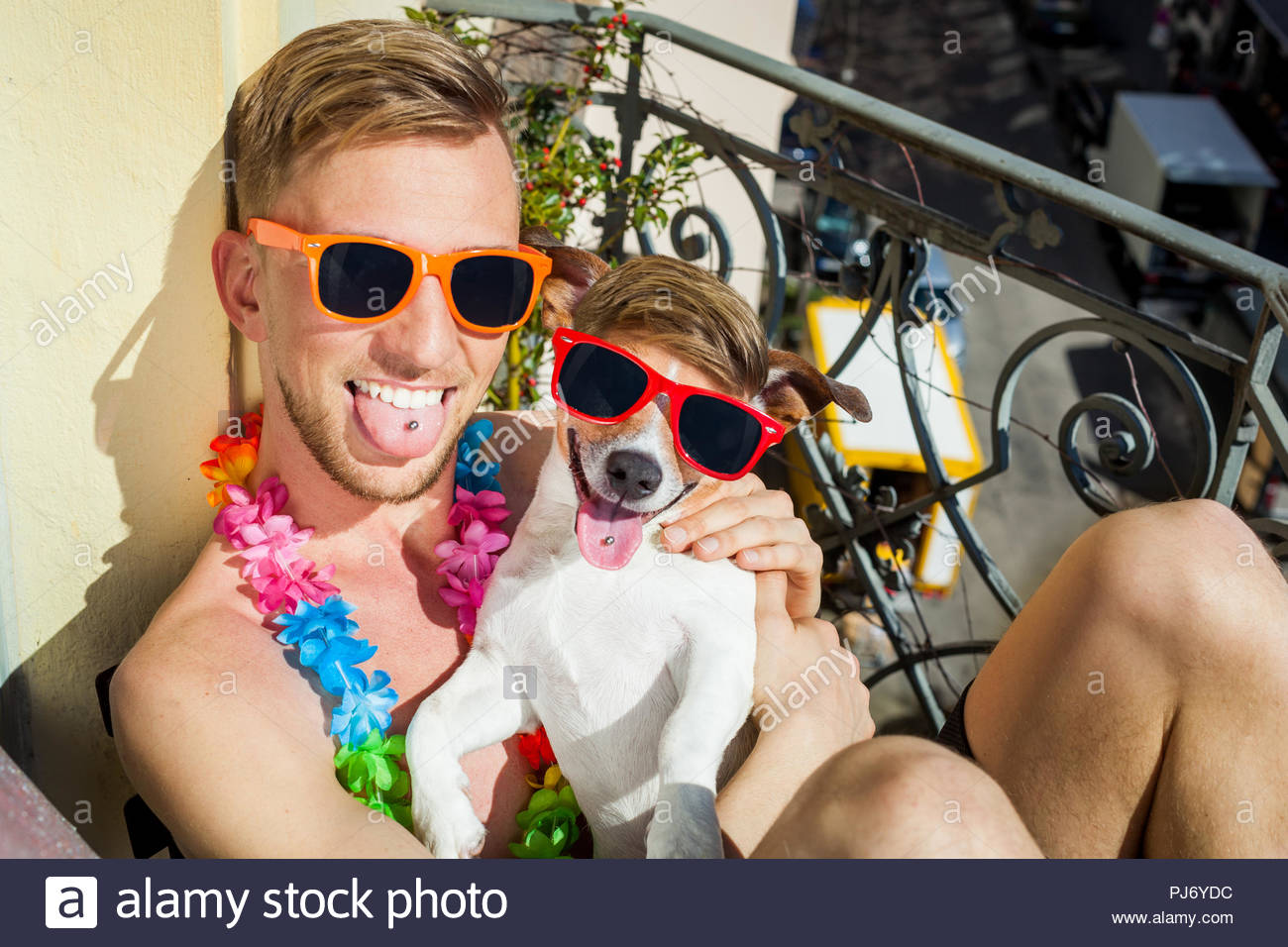 ack russell dog and owner having a siesta under the sun ,sun tanning with sunglasses, close and cozy together in love - Stock Image