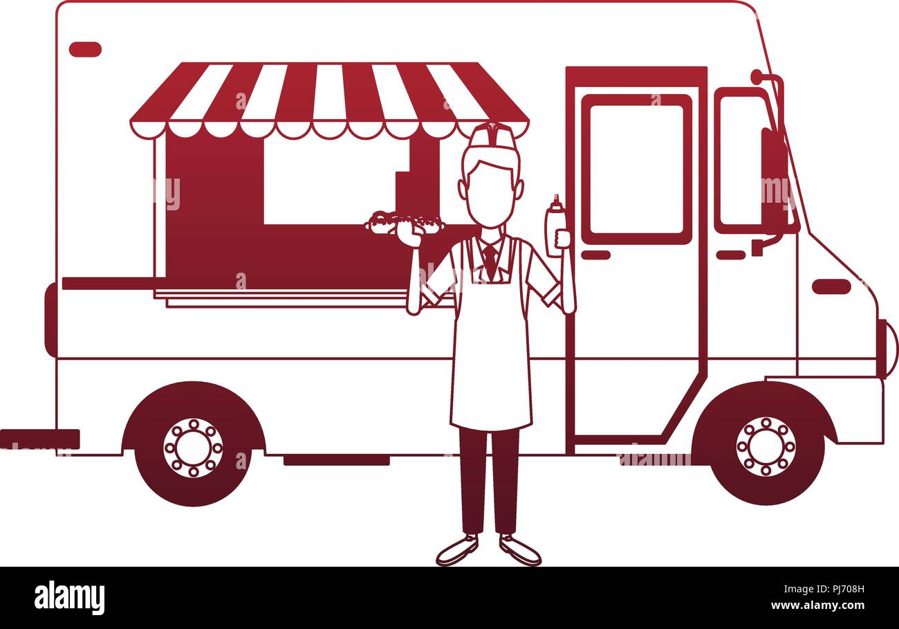 Foodtruck restaurant isolated red lines Stock Vector
