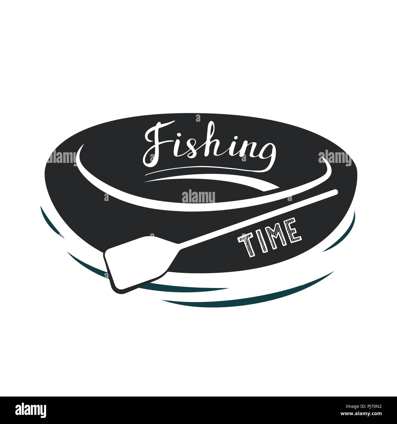 Rubber rowing boat with paddle. Black and white icon. Vector illustration. Fishing time. - Stock Vector