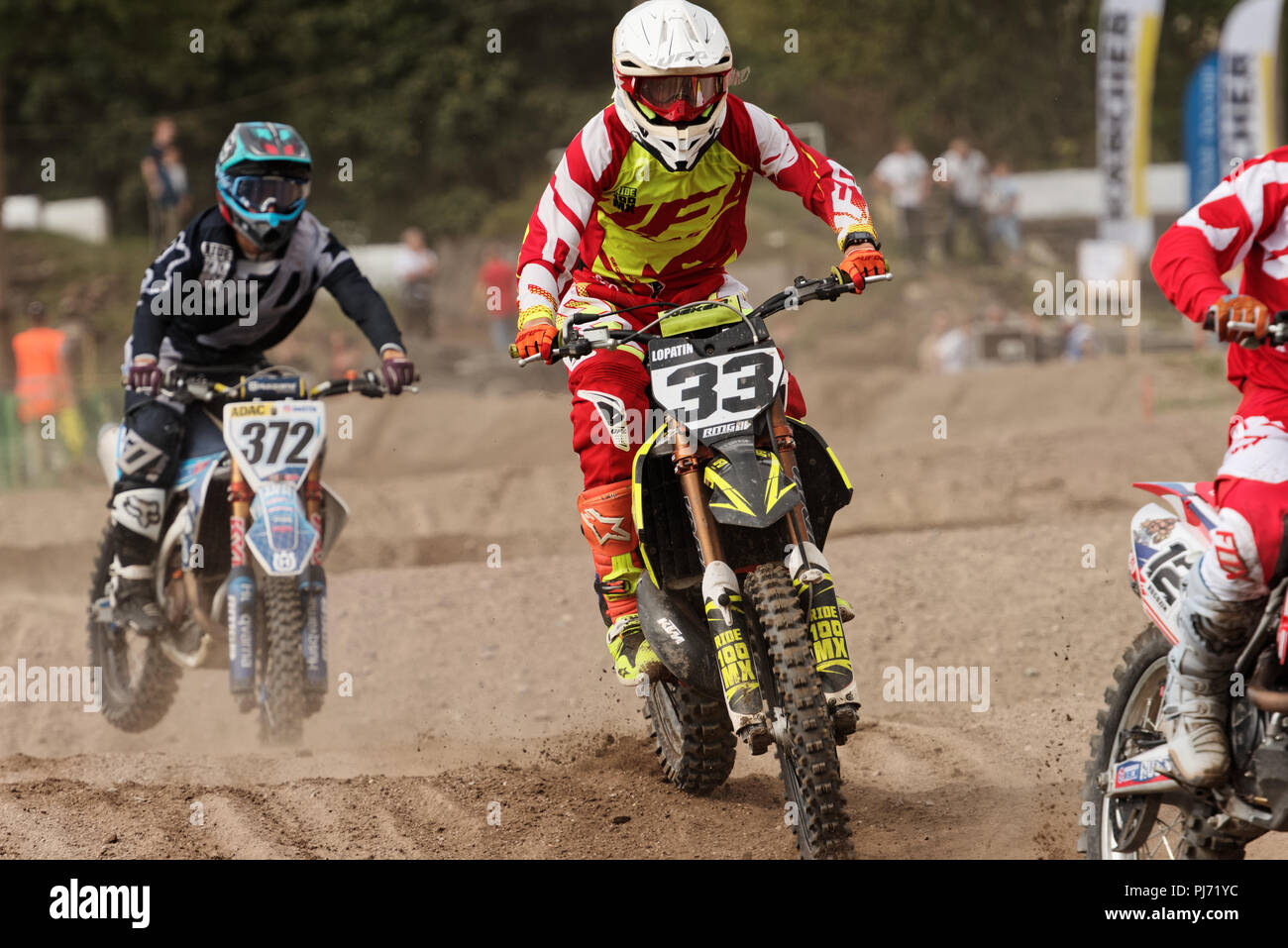 St. Petersburg, Russia - September 2, 2018: Athletes compete in third stage of Russian Supercross Championship. This stage is held on the motor racing Stock Photo