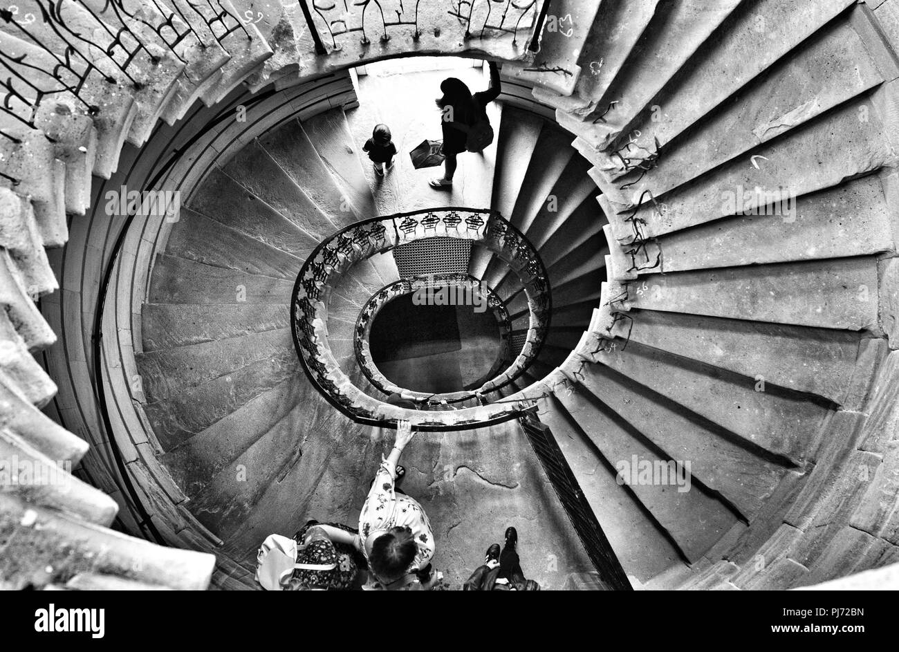 Standalone converted from colour to black white one of the winding staircases at the national trusts seaton delaval hall in northumberland