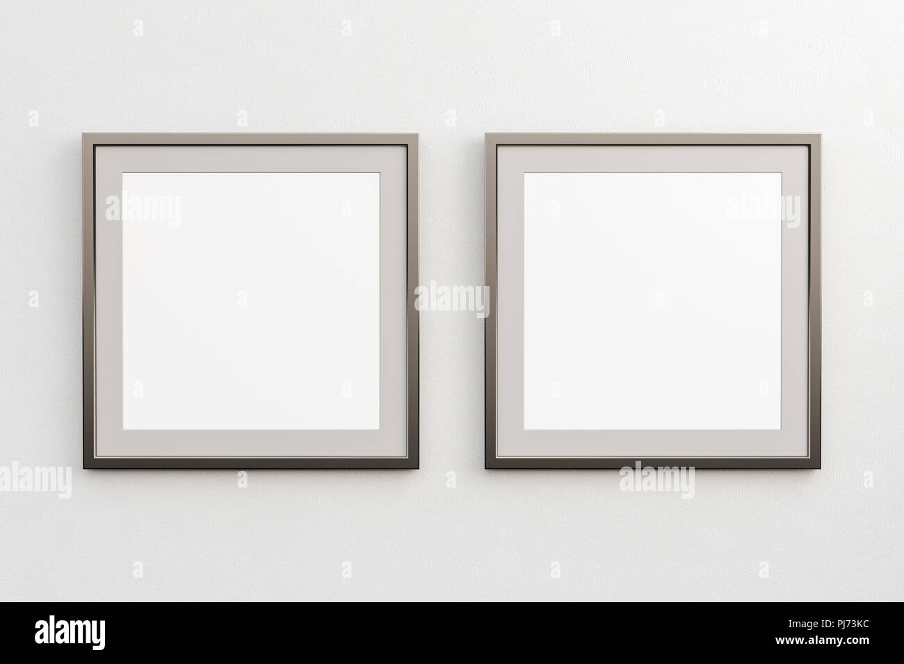 e9495182040 Two square frames with blank poster mock up on white wall. Include clipping  path around poster. 3d illustration