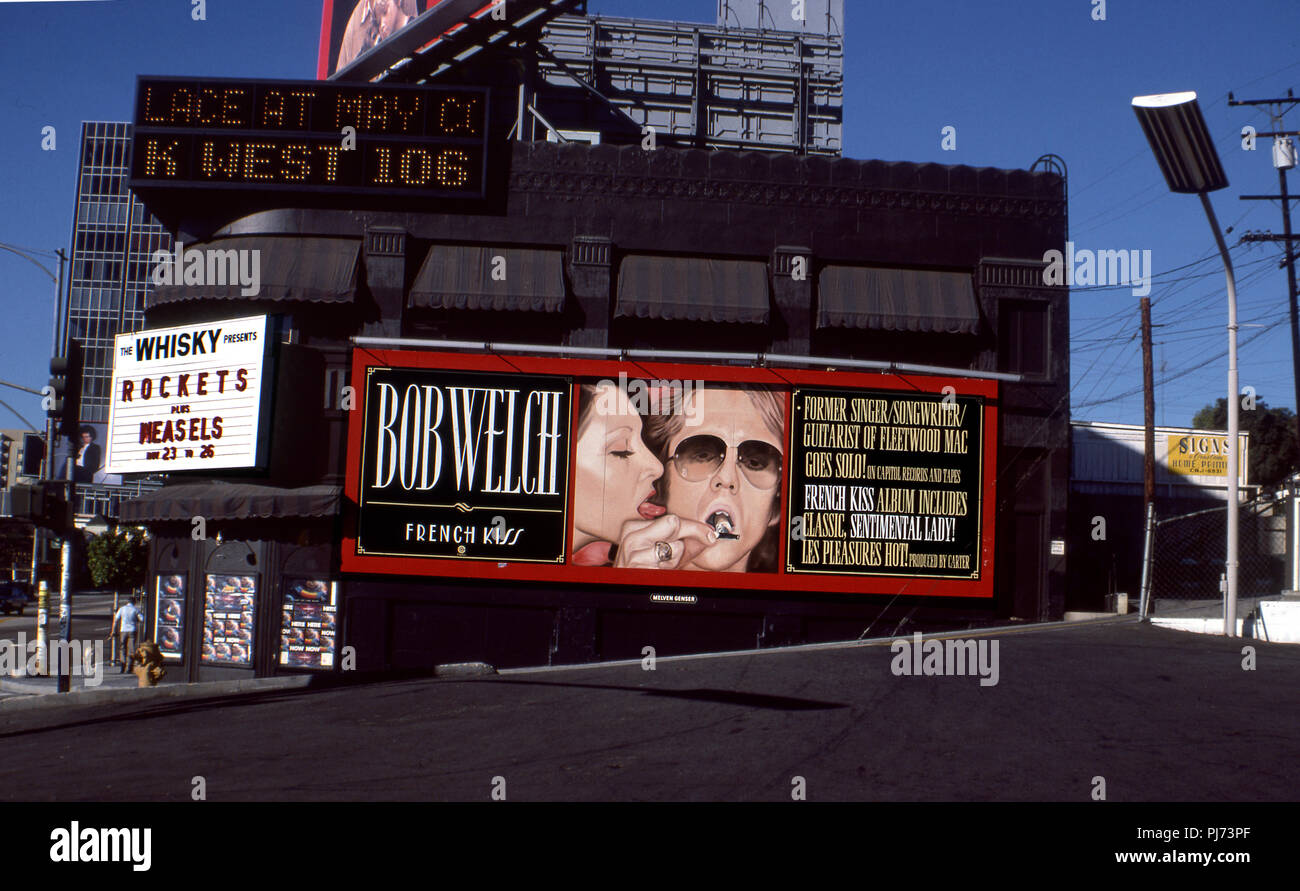 Bob Welch billboard on the side of the Whsky A Go Go on the Sunset Strip in Los Angeles, CA circa 1977 - Stock Image