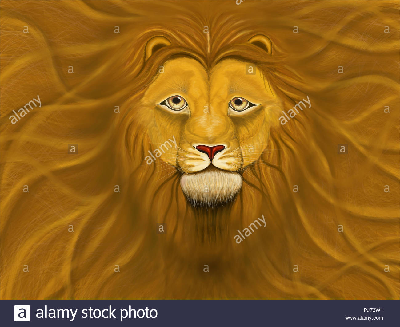 Good Lion With A Lush Mane Filling The Whole Background Stock Photo