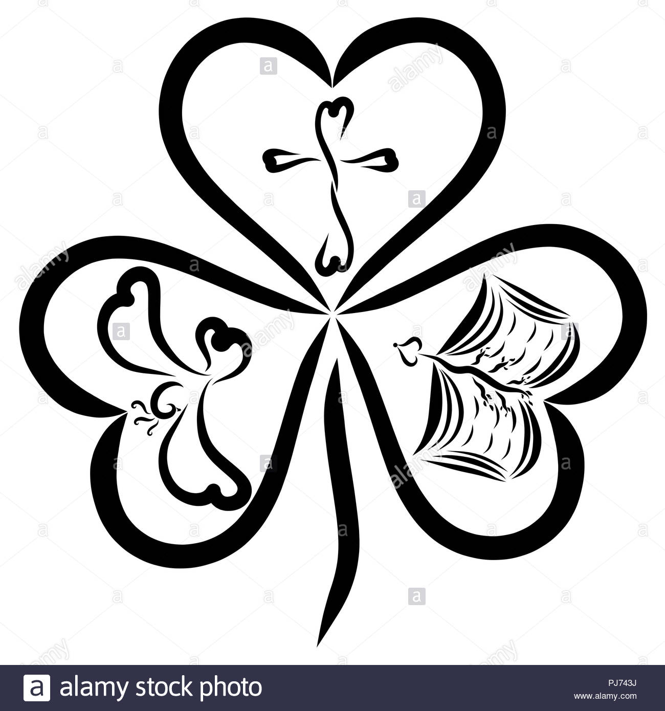 Clover with three leaves in the shape of heart and Christian symbols, the Triune God - Stock Image