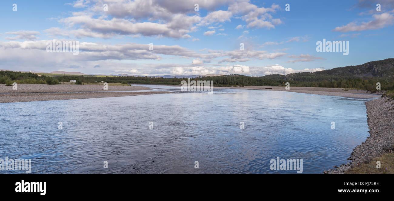 Elvestrand fishing zone in Alta river, panoramic view - Stock Image