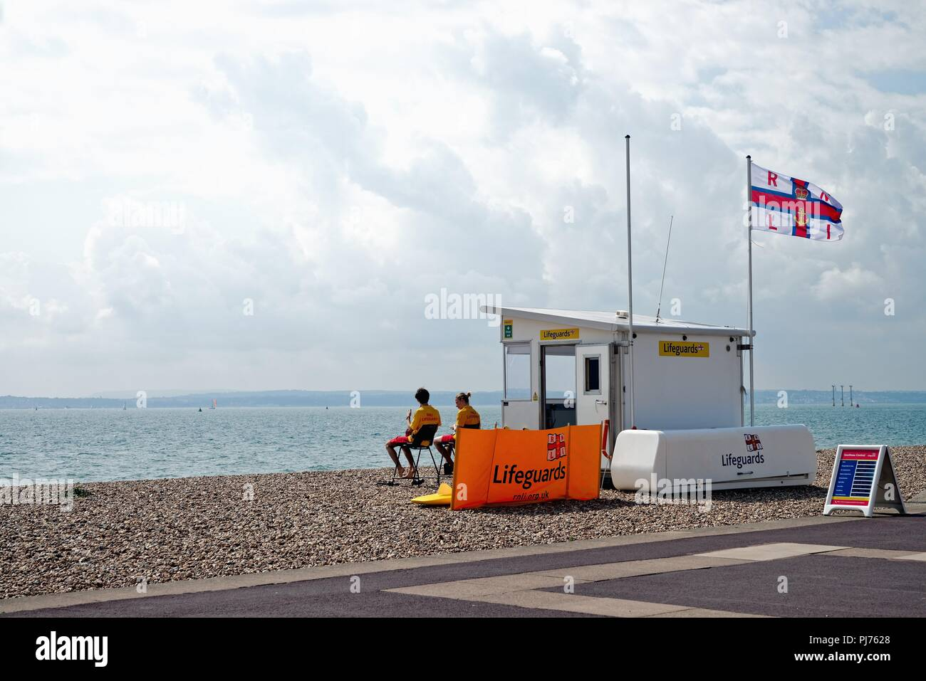 Lifeguards and lifeguard station on the beach at Southsea Hampshire England UK Stock Photo