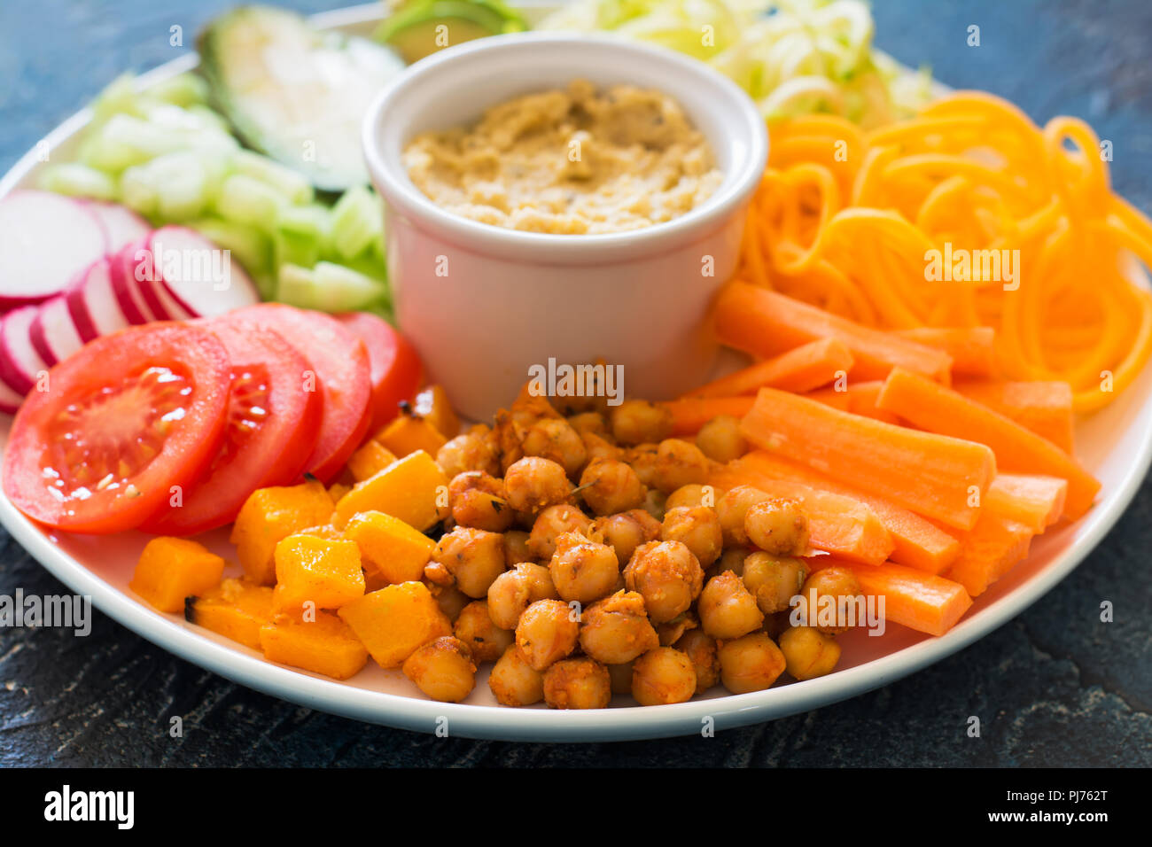 Close Up Of Healthy Vegan Dinner Plate Chickpeas And Vegetables On The Blue Background