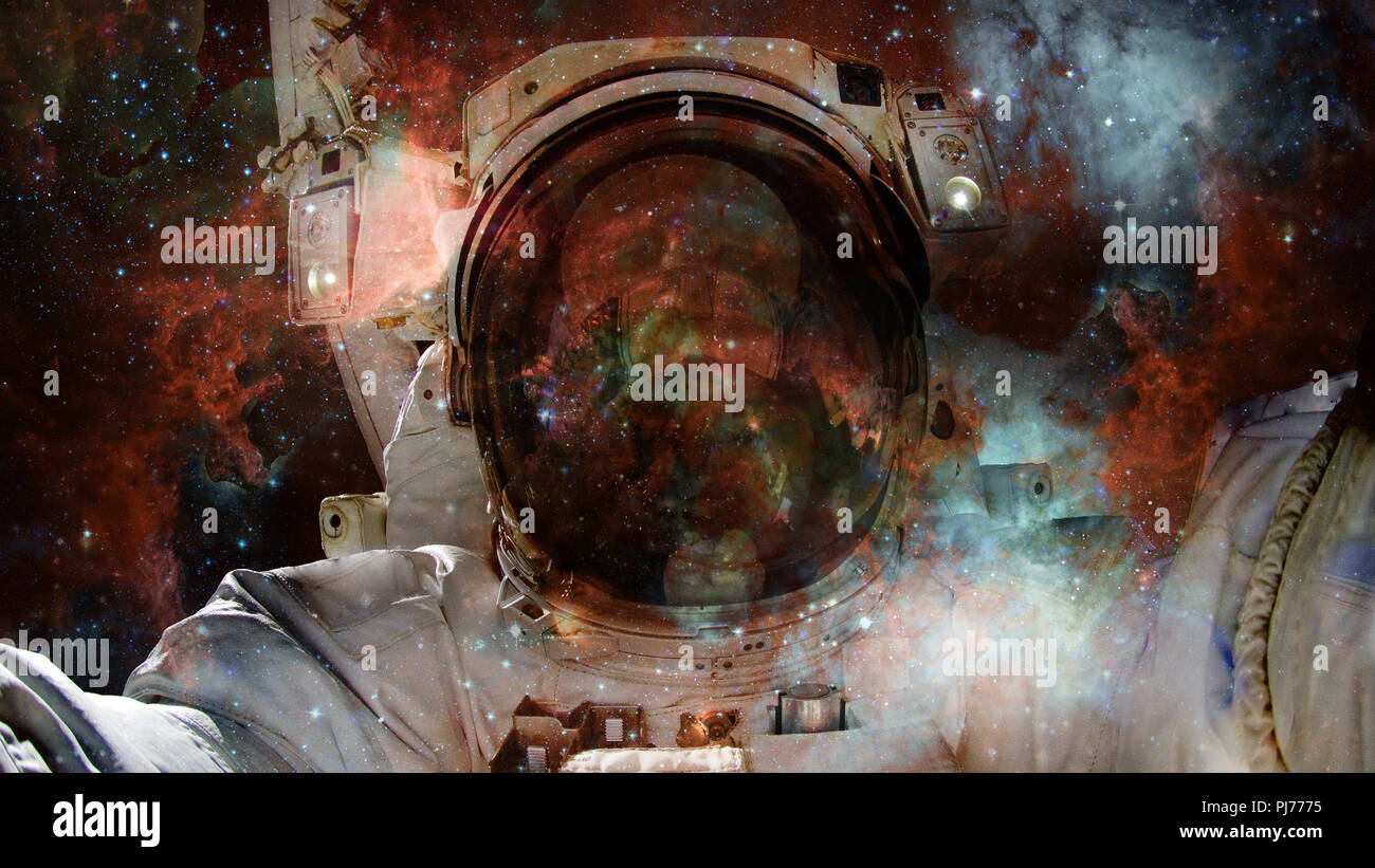Starry deep outer space - nebula and galaxy - Stock Image