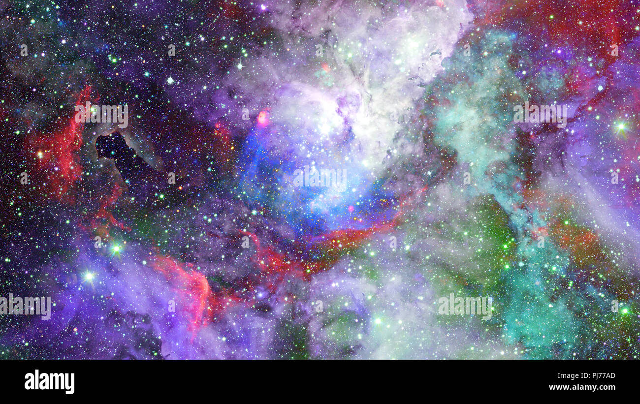 Nebula and stars in outer space. Elements of this image furnished by NASA. - Stock Image