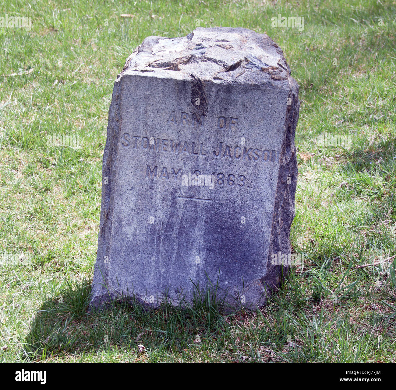 Confederate General Stonewall Jacksons chopped off arm is buried in a cemetery and given its own tombstone near Fredericksburg Virginia. - Stock Image