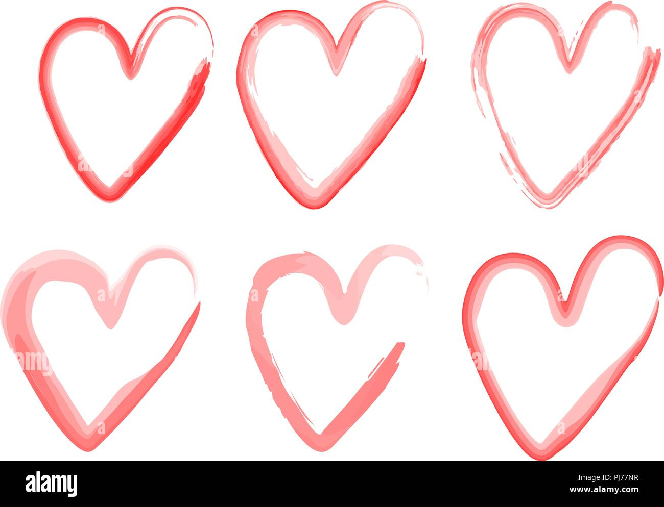 Symbol Of Love By Watercolort Of Hearts With A Brush Drawing By