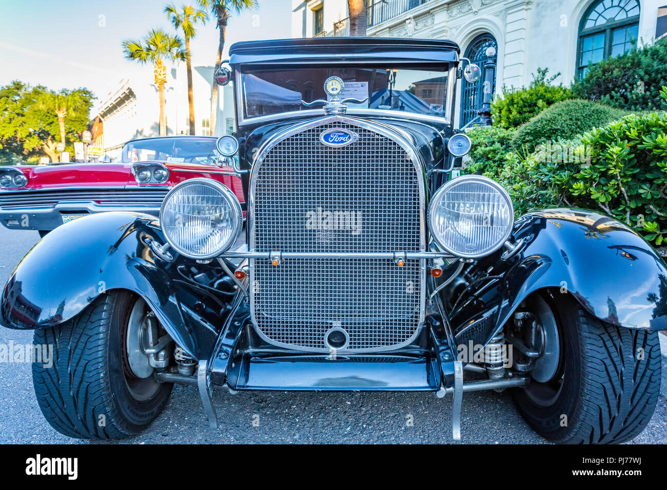 Customized Ford Model A At A Classic Car Show In Amelia Island - Amelia car show