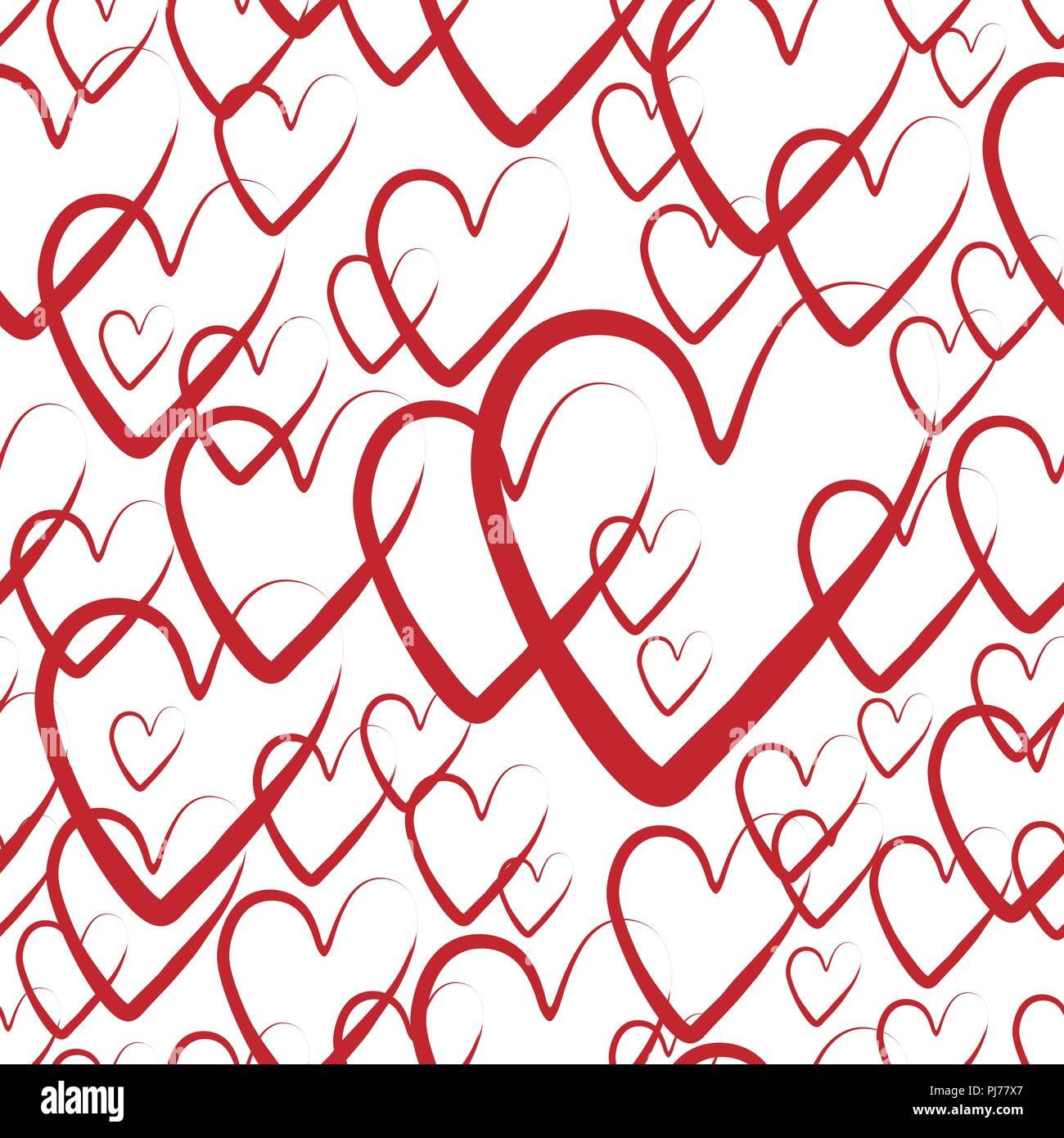 Red Pattern Background With Hand Drawn Elements Seamless Hearts