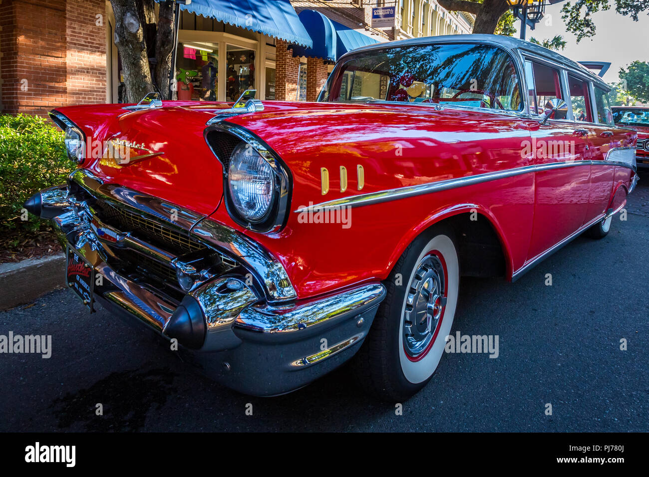 1957 Chevrolet Belair Station Wagon At A Classic Car Show In Amelia Chevy Bel Air Island Florida