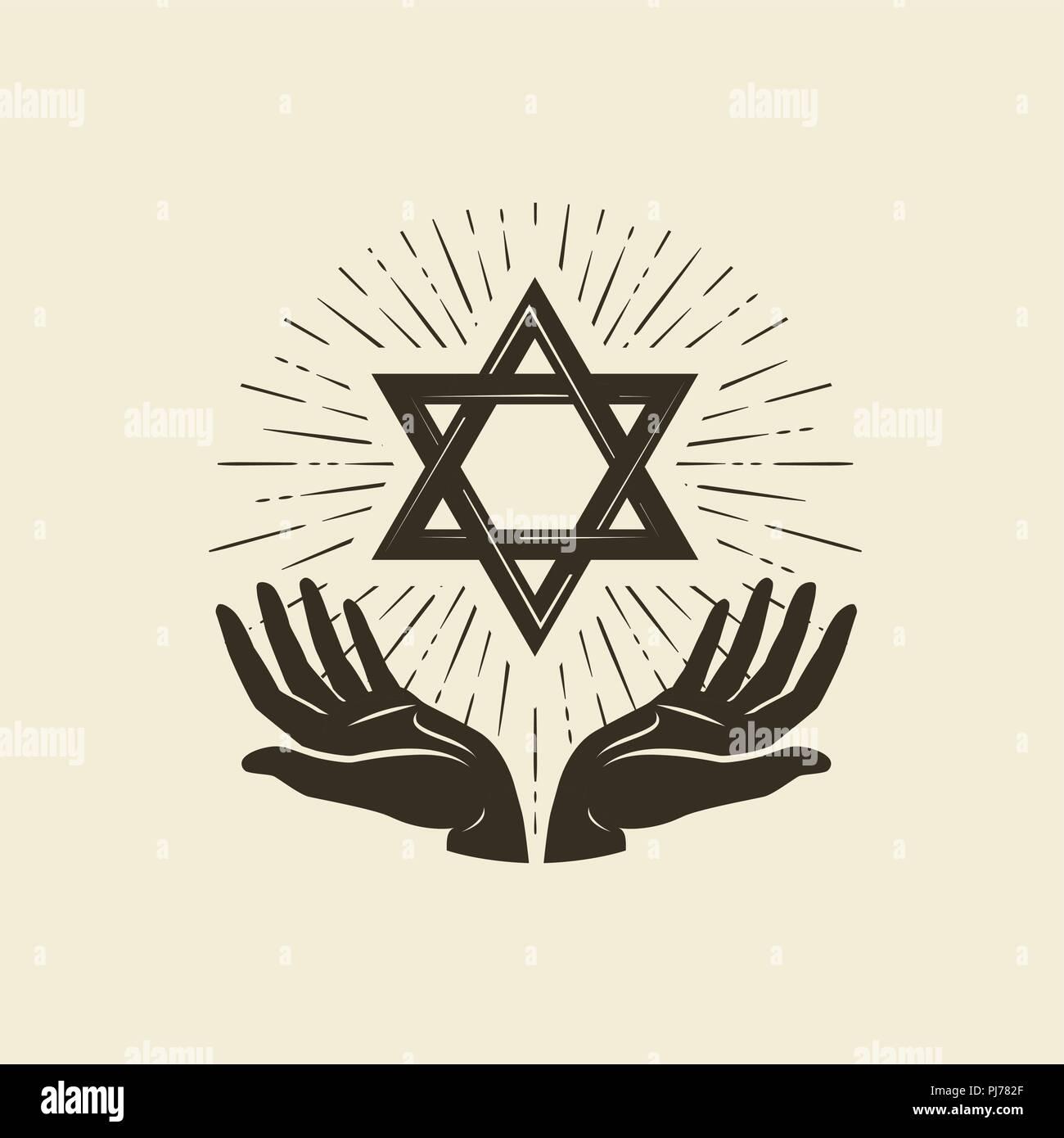 Star of David, symbol. Israel or Judaism emblem. Vector illustration - Stock Image
