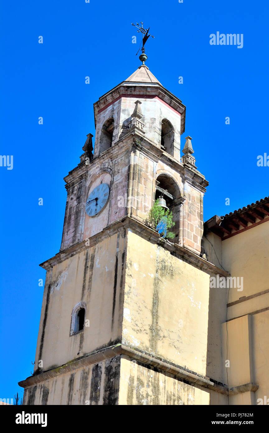 Mexican church bell tower in Patzcuaro, Michoacan - Stock Image