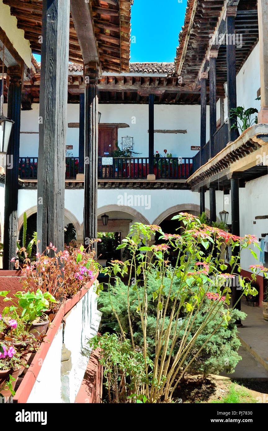 Mexican village rustic architecture in Patzcuaro, Michoacan - Stock Image