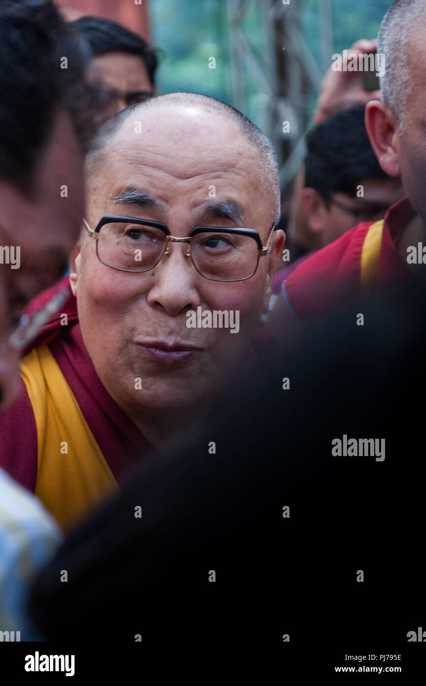 MUMBAI, INDIA – December 10 2017: The 14th Dalai Lama in the midst of a crowd as he enters Somaiya college to give a spiritual lecture. - Stock Image