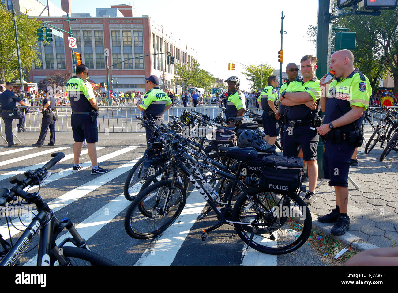 NYPD Strategic Response Group Bicycle Squad riot cops at a parade - Stock Image