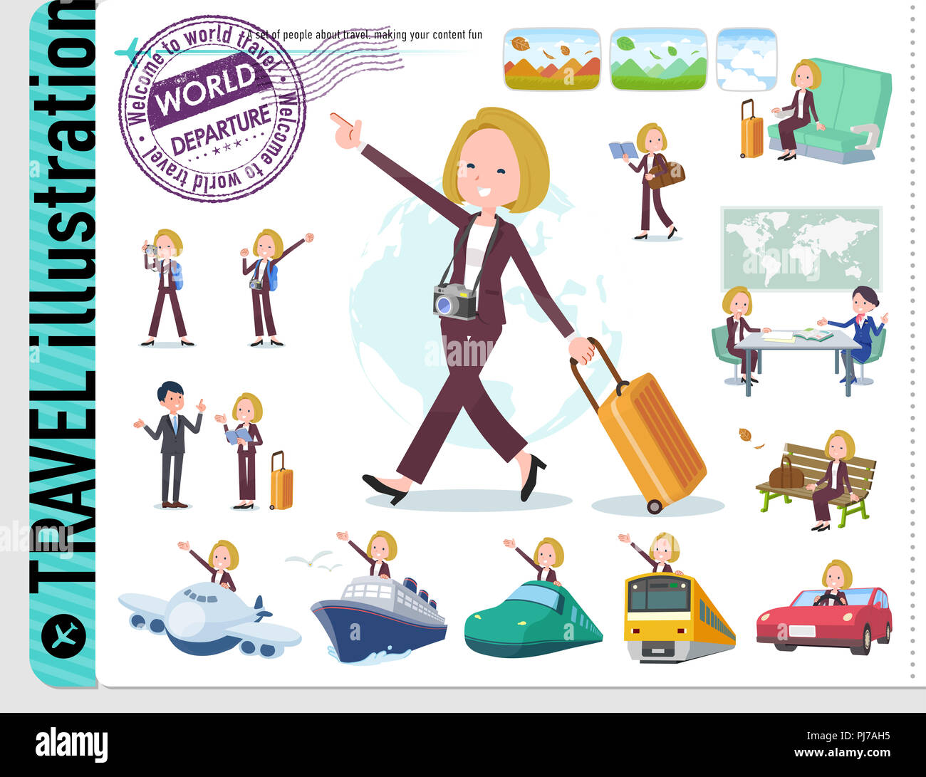 A set of women on travel.There are also vehicles such as boats and airplanes.It's vector art so it's easy to edit. - Stock Image