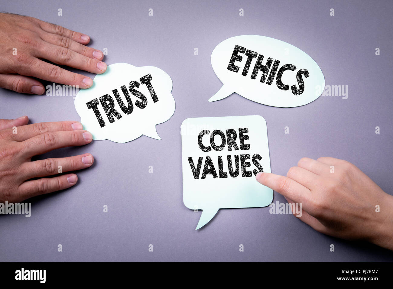 core values, trust and ethics concept - Stock Image