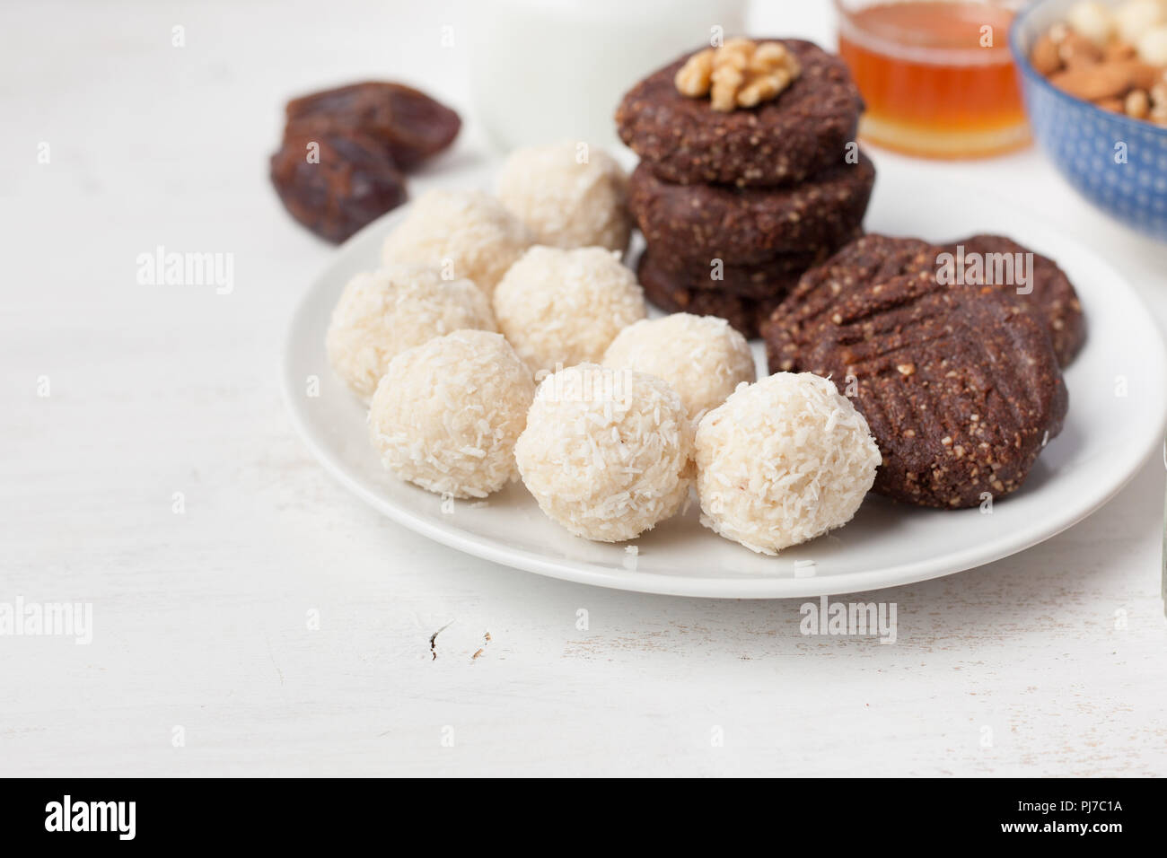 Raw Vegan Paleo Style Cookies Selection Made With Nuts