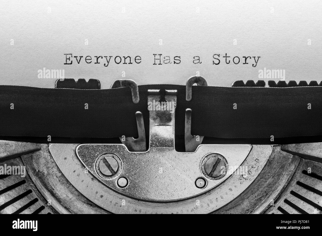 Everyone has a story typed on a vintage typewriter - Stock Image