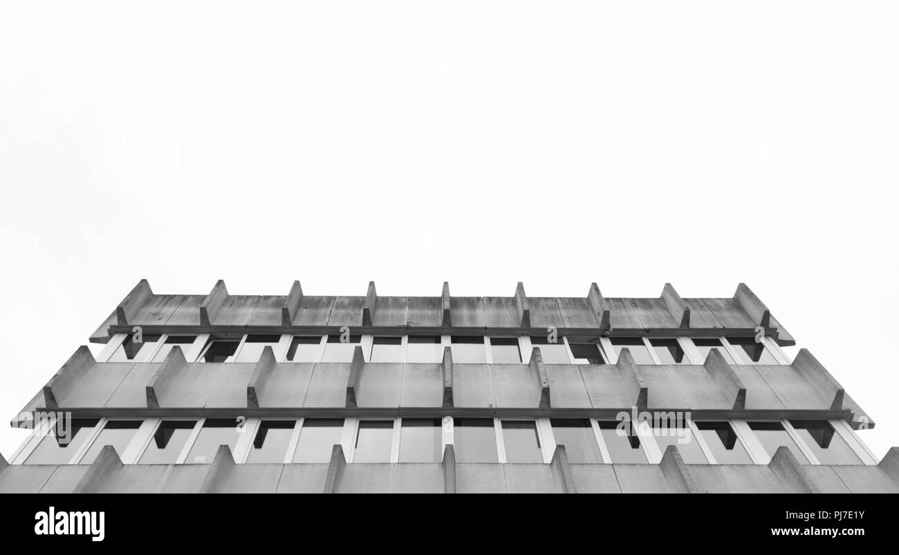 Stunning background architecture view into the sky in black and white - Stock Image