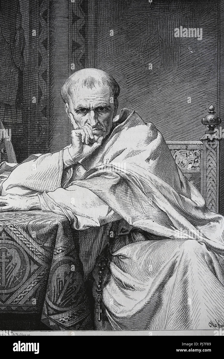 Pope Gregory VII (1015-1085). Was pope from 1073-1085. Portrait. Engraving, 1882. - Stock Image