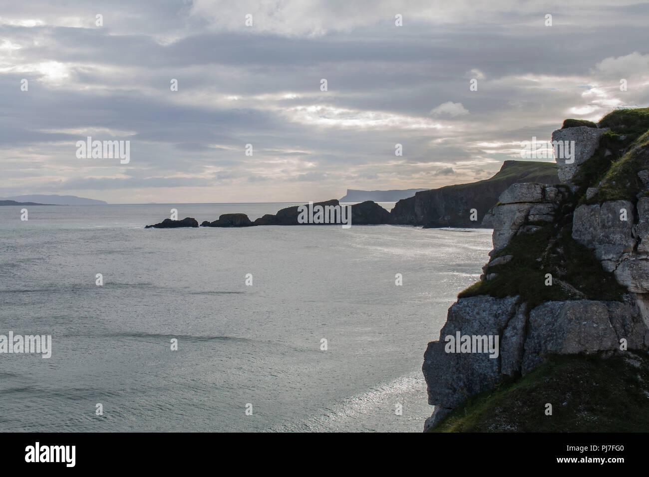 Cliffs around carric a reed bridge in ireland - Stock Image