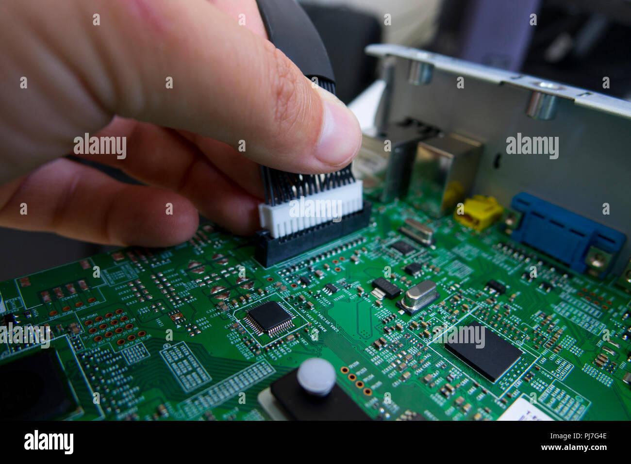 Quality Control And Assembly Of Smt Printed Components On Circuit Pcba Or Board In Qc Lab Pcb Manufacturing High Tech Factory