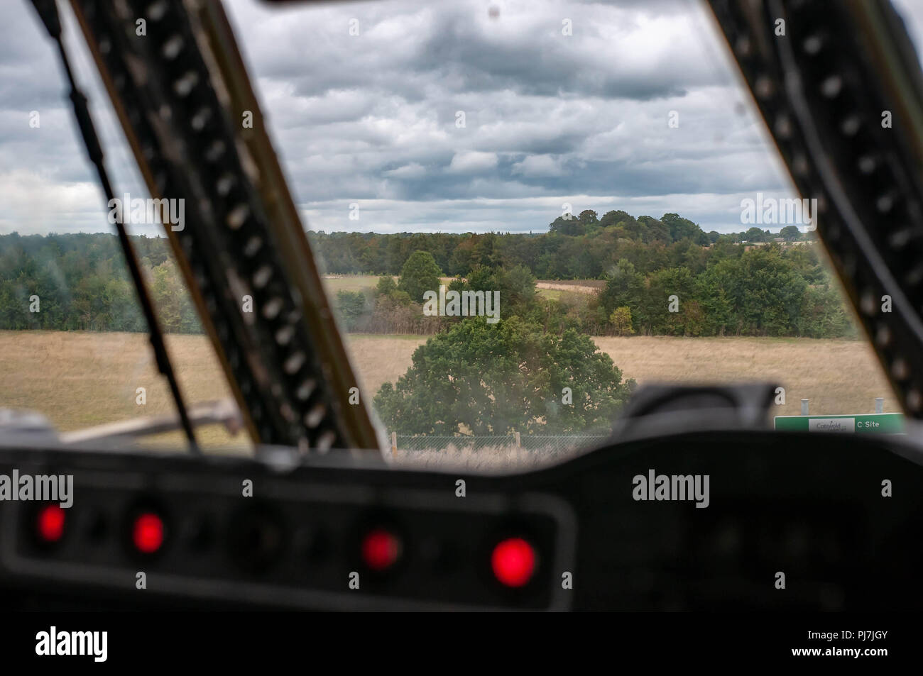 Looking from the cockpit of an RAF Bristol Britannia - Stock Image