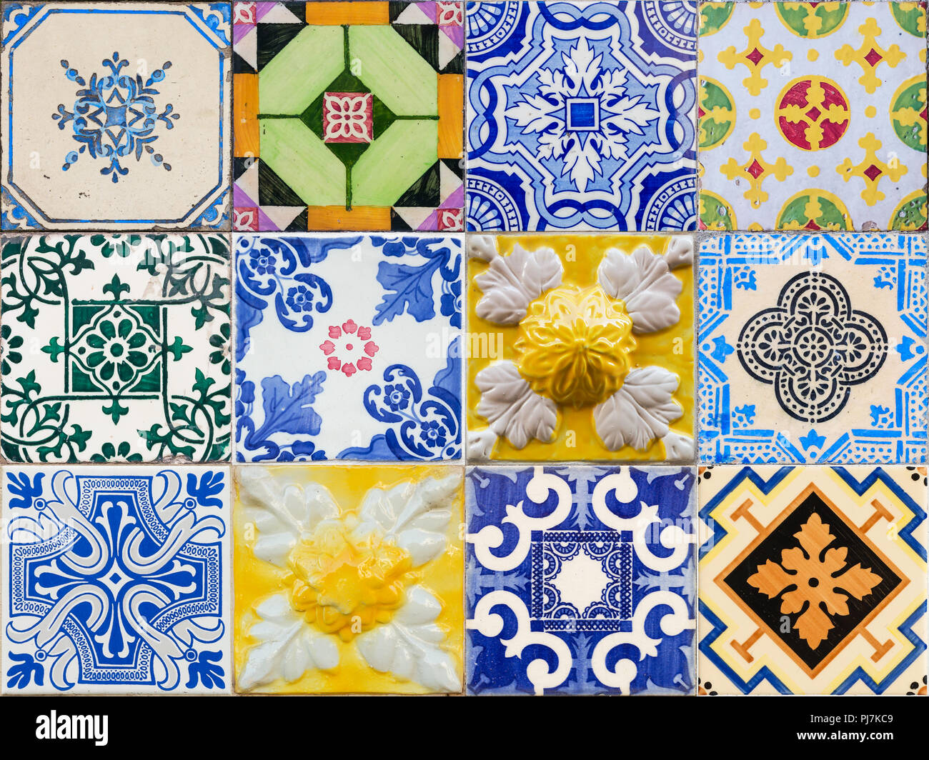 Mixed colage of the traditional portuguese azulejo tiles on the buildings in Porto, Portugal. Colorful background texture. - Stock Image
