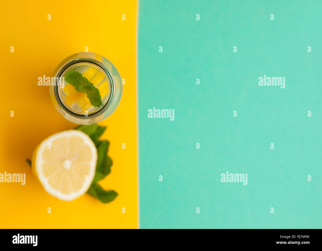 Flat lay of lemonade ingredients with copyspace. - Stock Image